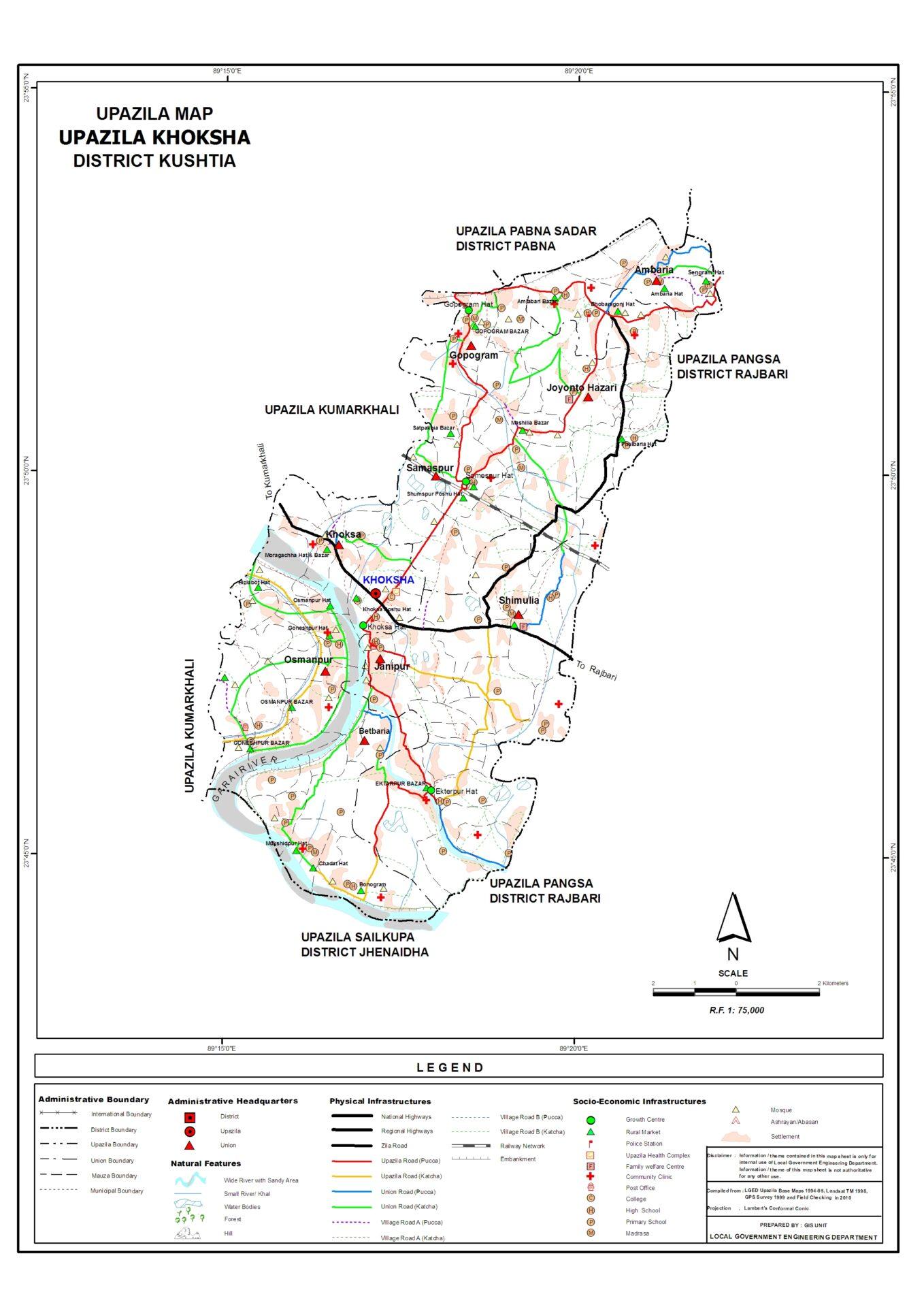Khoksha Upozila Map   খোকসা উপজেলা ম্যাপ