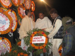 Giving flowers to Martyr's Monument on International Language Day by Lalon Academy