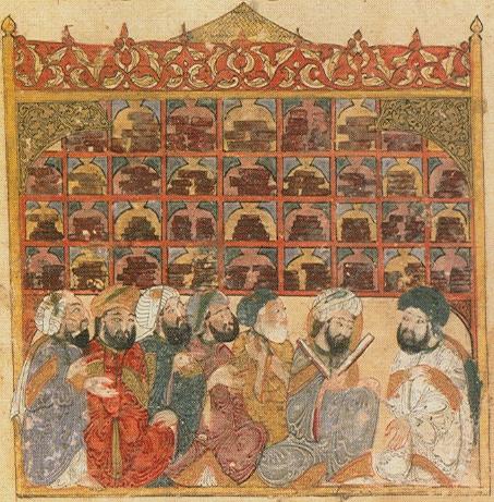 Scholars at an Abbasid library in Baghdad. Maqamat of al-Hariri Illustration by Yahyá al-Wasiti, 1237.